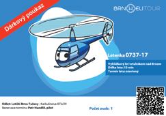 Dárkový poukaz na vyhlídkový let vrtulníem BrnoHeliTour vzor 2